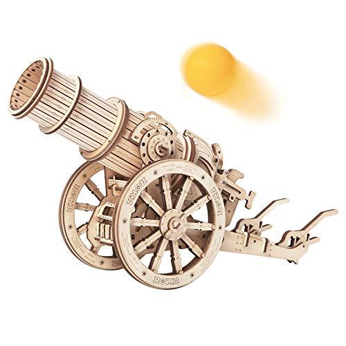 ROKR Puzzle in Legno 3D per Adulti Bambini Sopra i 14 Anni Modellismo da Costruire Adulti Regali di Decorazione Retrò 142 Pezzi Cannone medievale, Medieval Cannon