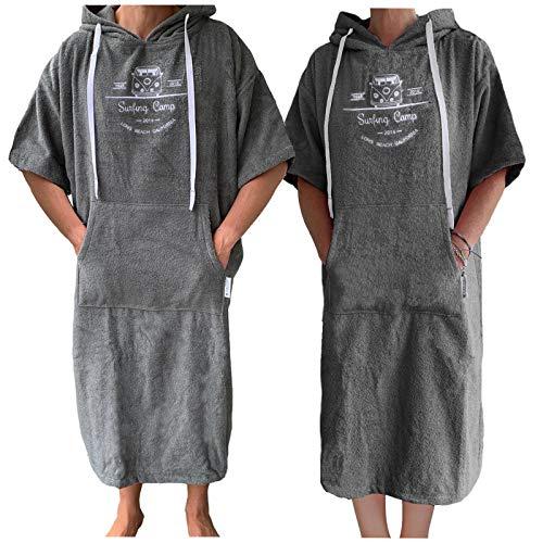 HOMELEVEL Poncho de rizo con capucha y bordado, 100% algodón, antracita, small/medium