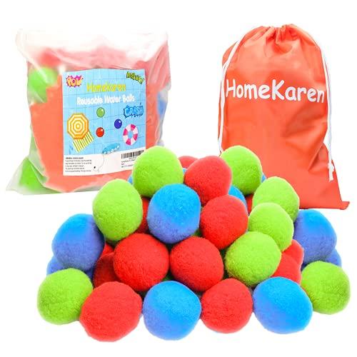 Homekaren 51 Water Balls Reusable, Cotton Balls for Water Fight Outdoor,...