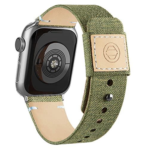 Mantimes Correa de tela para reloj de 40 mm, 38 mm, 42 mm, 44 mm, correa de piel auténtica con hebilla a presión para iWatch Series (42 mm/44 mm, verde militar)
