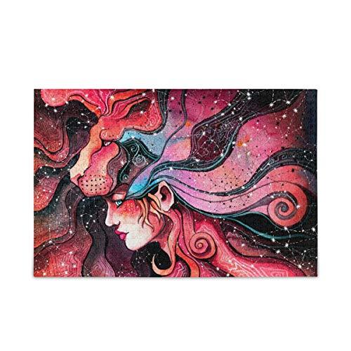Rompecabezas de 500 piezas de chica en la mscara del len simboliza signo del zodiaco para adultos educativo familiar divertido regalo