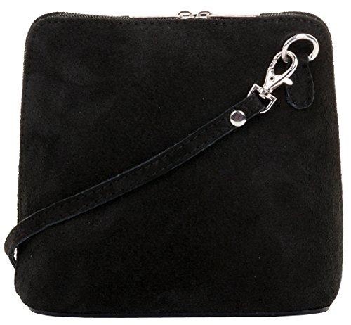 Primo Sacchi Damen Italienisches Wildleder Leder Kleine dreieckige Umhängetasche oder Umhängetasche Handtasche Schwarz