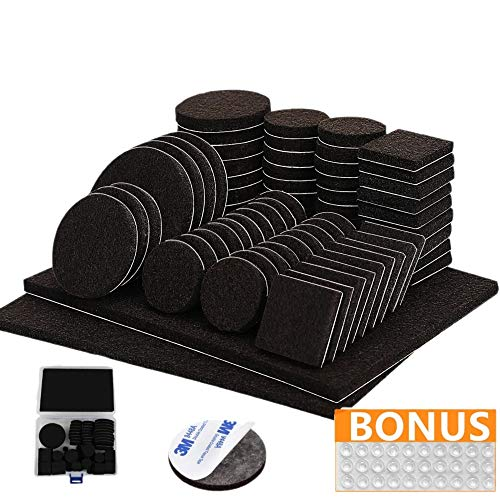 Filzgleiter selbstklebend mit 3M Kleber - 176-teiliges Möbelgleiter Set - Mit schwarzen Bodenschutz Pads in 8 verschiedenen Größen – Set mit Plastikbox und 30 Gumminoppen