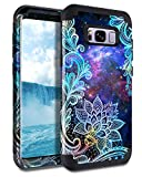 Casetego Compatible with Galaxy S8 Plus Case,Floral Three Layer Heavy Duty Hybrid Sturdy Shockproof Full Body Protective Cover Case for Samsung Galaxy S8 Plus,Mandala