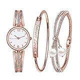 Godagoda Ensemble Cadeau 1 Montre 2 Bracelets Bangles Strass pour Femme Fille Couleur...