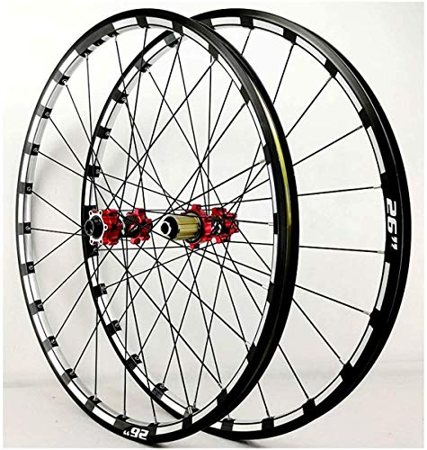 YZU 26 27.5 29 Pollice Mountain Bike Ruote Bicicletta Wheelset MTB Rim Freno A Disco Ultralight Q/R 7 8 9 10 11 12 Velocità Cassette Volano 24H 1750g, Rosso, 26 pollici