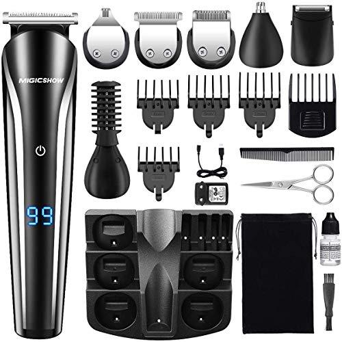 MIGICSHOW Cortapelos Multifunción, 11 en 1 Barbero Electrico Recortador de Barba y Precisión Afeitadora Corporal para Hombres Profesional Cortapelos Narizy Orejas Máquina de Afeitar Inalámbrica