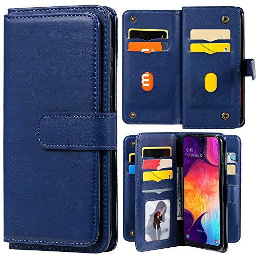 Capa carteira XYX para Samsung Galaxy A51 5G SM-A516 [não serve para A51 4G], capa carteira flip couro PU cor sólida com suporte com 10 compartimentos para cartão, azul escuro