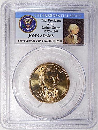2007 P Pos. A John Adams Presidential Dollar PCGS MS 65 FDI Presidential Label Holder