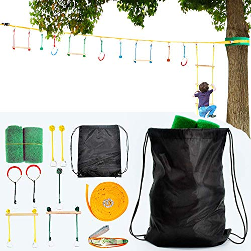 BRAVEWAY Slackline Kit Kids Obstacle Course Balance Training Accessories with Monkey Bars Tree Protectors 40ft