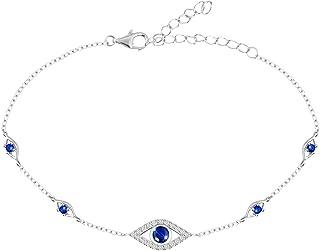 S925 Sterling Silver Evil Eye Necklace Link Bracelet...