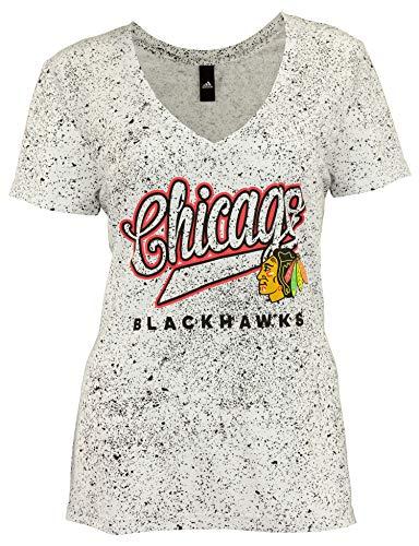 Adidas NHL Chicago Blackhawks playera con cuello en V profundo para mujer, Atlético, Large, Chicago Blackhawks