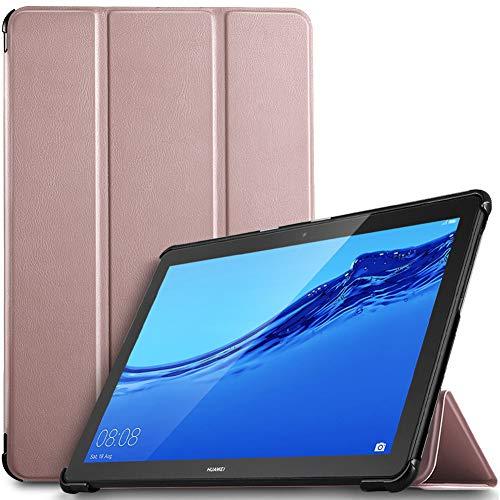 IVSO Hülle für Huawei MediaPad T5 10, Ultra Schlank Slim Schutzhülle Hochwertiges PU mit Standfunktion Ideal Geeignet für Huawei MediaPad T5 10 10.1 Zoll 2018 Modell, Rosegold