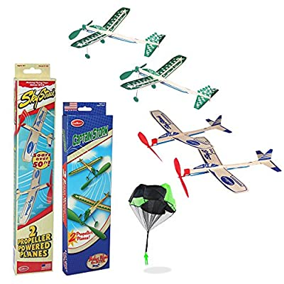 Balsa Wood Airplane Glider and Parachute Man Rubber Band Powered Sky Streak and Captain Storm Twin Packs 5 Piece Set from
