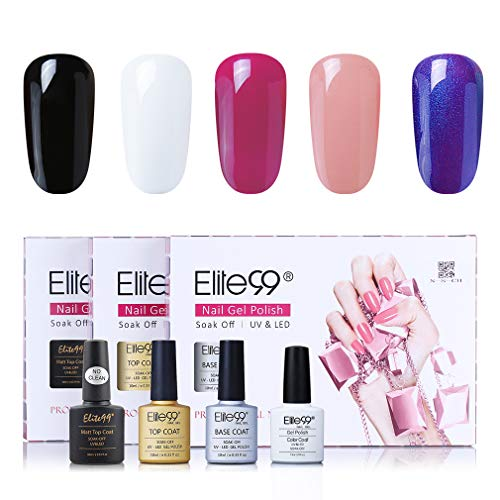 Elite99 klassieke kleuren UV nagellak 5 kleuren met toplaag en onderlaag, base en top coat gel nagellak UV LED, mes set voor nagel ontwerp gel lak, nail art set 001