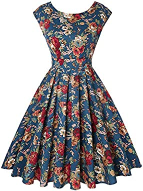 MINTLIMIT Women's 1950s Vintage Retro Sleeveless Crew Neck Rockabilly Cocktail Dress with Pockets