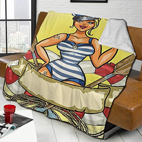 Girly Decor Pin-Up Sexy Sailor Girl In Lifebuoy with Captain Hat and Costume Glass of Beer Feminine Design Multi Personalized Fashion Lamb Blanket