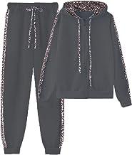 amropi Trainingspak voor dames, met luipaardprint, outfits met capuchon, sweatshirt en joggingbroek, sweatsuits