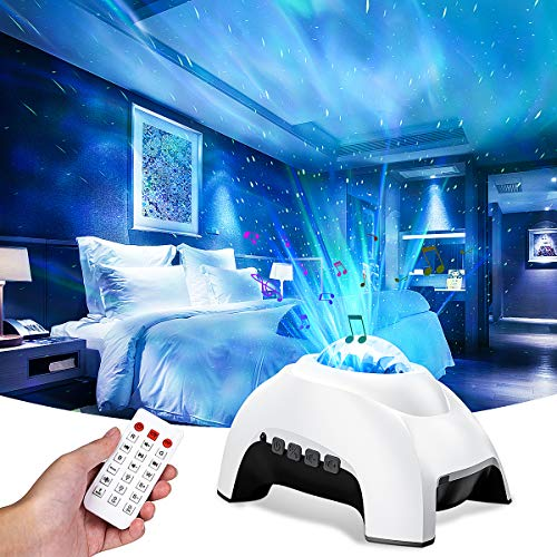 Star Projector, 2 in 1 Galaxy Projector with Remote Control, Aurora Night Light with Bluetooth Speaker & White Noises for Bedroom, Sky Light with Timer for Kids & Adults