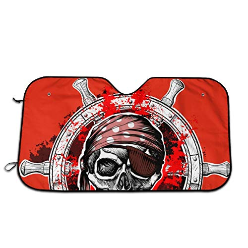 "Navigation Pirate Skull Art Funny Windshield Sun Shade Sunshades Keep Vehicle Cool Protect Your Car from Sun Heat & Glare Best Uv Ray Visor Protector Size: 27.5""X 51"""
