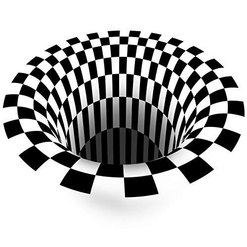 NgMik 3D Vision Teppich Falle Schwarz Und Weiß 3D Stereo Kurzhaufen Runde Teppich Wohnzimmer Schlafzimmer Nachttisch Couchtisch Computer Stuhl Pooratat Rutschfester Teppich