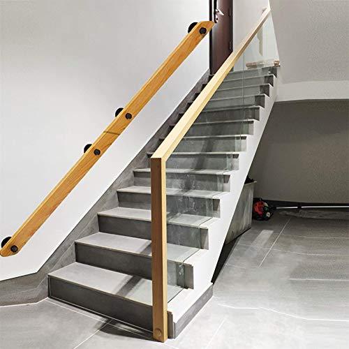 XJZKA Handrail-30-600cm Kit Completo, pasamanos de Madera rústicos Antideslizantes para escaleras |contra la Pared Interior Loft Barandillas para Personas Mayores Barandillas de segurid