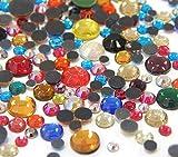 Perlin Hotfix 455 - Juego de piedras brillantes (2 mm, 3 mm, 4 mm, 5 mm, 6 mm, 1200 unidades, calidad AAA, para planchar), multicolor