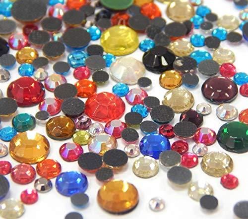 Perlin Hotfix 455 - Juego de piedras de estrás, 2 mm, 3 mm, 4 mm, 5 mm, 6 mm, multicolor, 1200 unidades, calidad AAA, para planchar