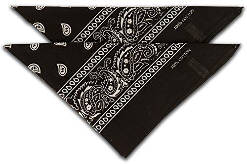 fashionchimp ® Nicki-Halstuch aus 100% Baumwolle im 2er Set, Unisex Bandana, AZO-Frei (Schwarz)