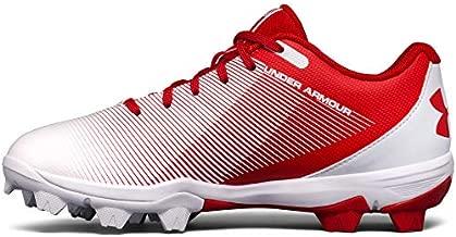 Under Armour Boys' Leadoff Low Jr. RM Baseball Shoe, Red (611)/White, 4 M US Big Kid