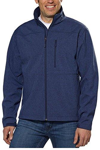 Kirkland Men's 4-Way Stretch SoftShell Jacket All-season Front Full-Zip (Medium, Blue)
