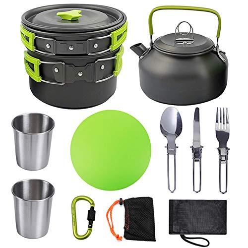 OOFAY kookgerei buiten camping pot mok thee samenstelling een draagbaar kookgerei pakket omvat, snijplank, pot