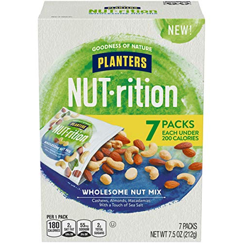 PLANTERS NUT-rition Wholesome Nut Mix, 7.5 oz Box (Contains 7 Individual Pouches) - Cashews, Almonds and Macadamias Snack Mix - No Artificial Flavors, No Artificial Colors, No Preservatives - Kosher