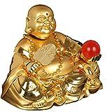 PIAOLING Décoration Feng Shui Statue de Bouddha Décoration en Alliage de Zinc Sculpture d'or Maitreya Rire Bouddha Parfum Car Décoration Mobilier de Maison Statue de Feng Shui