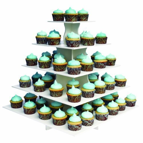 The Smart Baker 5 Tier Square Cupcake Stand PRO- Holds 100+ Cupcakes'As Seen on Shark Tank' Cupcake Tower for Professional Use