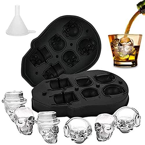 Molde de la Bandeja del Cubo de Hielo del Cráneo 3D, Molde de Cubitos de Hielo de Silicona, Fabricador de Cubitos de Hielo para Cócteles y Whisky con Mini Embudo