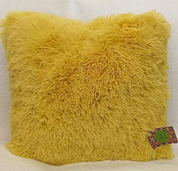 Jody Clarke 1 PC Kelly Cushion Shaggy Plush Faux Fur Decorative Throw Pillow Cover Velvety Fluffy Soft Cushion 16 Wide X 16 Long Avilabale In Multiple Colors Bright Yellow