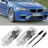 Luces de Bienvenida 2 PCs compatibles con BMW 1 3 5 6 7 Serie X1 X3 X5 X6 Z E81 E83 E87 E60 E65 E66 E70 E90 E91 F10 G30 Luz de Puerta de Coche LED Logotipo automático Luz de Bienvenida