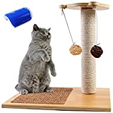 Odoland Cat Scratching Posts with Cat Self Groomer Massage Comb, 1 Sisal Scratch Pole Cat Scratcher with 4 Dangling Ball, Carpeted Base Play Area with Sisal Cat Scratching Pad and Small Perch