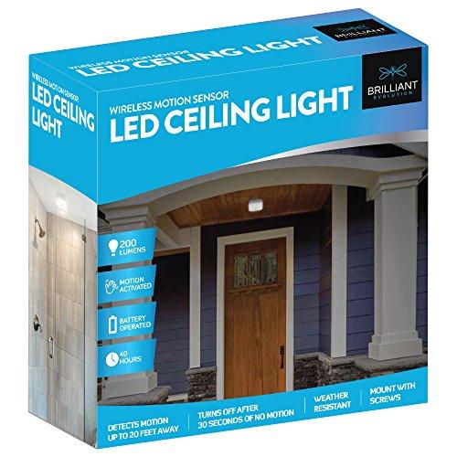 Brilliant Evolution Wireless Motion Sensor LED Ceiling Light, LED Closet Light, Indoor Motion Sensor Light, Outdoor Light, Cordless Battery Operated Light, Garage Light, ...