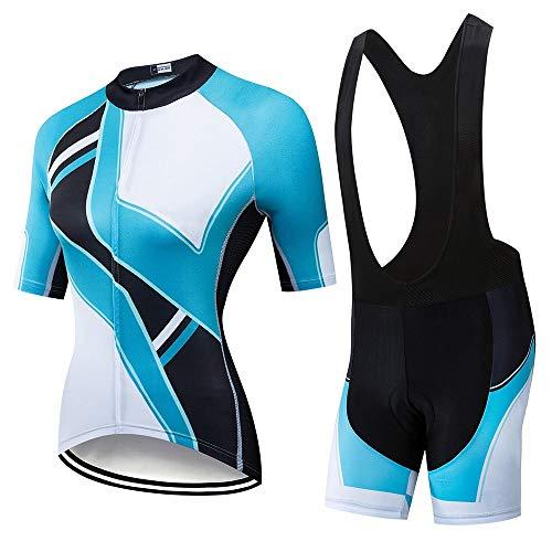 Huangwanru - Traje de ciclismo para mujer de alta elasticidad, transpirable, de secado rápido, de manga corta, traje de ciclismo adecuado para deportes al aire libre para correr deportes, color Azul y negro., tamaño XX-Large