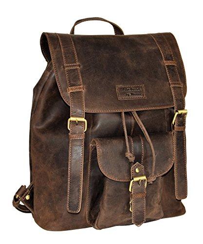 Menzo Leder-Rucksack aus echten Büffelleder, Ideal für die Arbeit, Schule, Urlaub und Handgepäck, Backpack (Marrone)