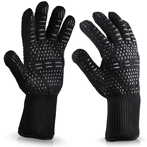 ACOMOO Barbecue Gloves 800℃/1472℉ Very high Temperature Resistant Barbecue Gloves with Finger Non-Slip Oven Gloves, Used for Barbecue, Barbecue, Cooking, Baking Outdoor Cooking Gloves 1 Pair (black2)