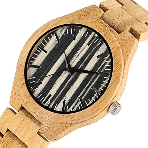 RWJFH Reloj de Madera Caja de Reloj de bambú Natural Completa, Reloj de Pulsera de Cuarzo para Hombre, Esfera de Tiras Negras, Reloj deMadera Informal para Hombre, Brazalete Elegante, Reloj de ma