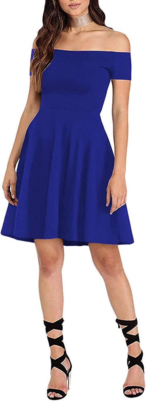 Sarin Mathews Womens Off The Shoulder Dress Short Sleeve Sexy Homecoming Summer Cocktail Party Skater Dresses