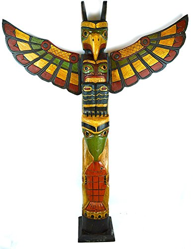 WorldBazzar Cracked Scratch and DENT Tall 3 Foot Tall Northwest Coast Style Wooden Eagle with Fish Totem Pole
