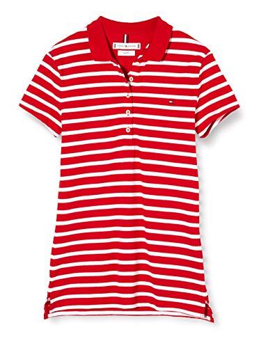 Tommy Hilfiger Short Sleeve Slim Polo Stripe, Rojo (Breton STP/Primary Red White 0ey), 32 (Talla del Fabricante: XX-Small) para Mujer