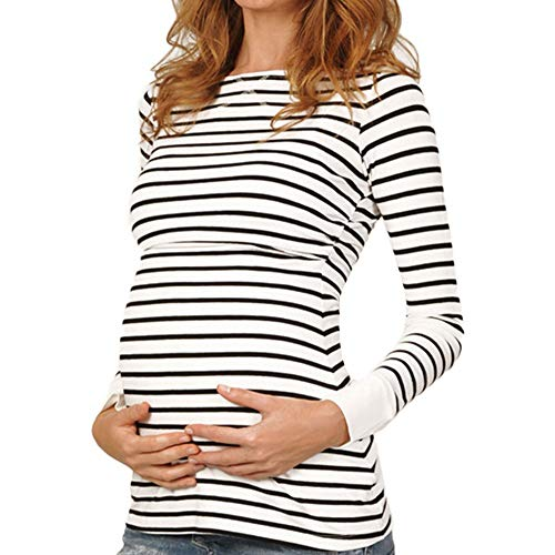 Women Maternity Tunic Tops Long Sleeve Casual Striped Slim Fit Pregnancy Clothes T-Shirt (XL, White)