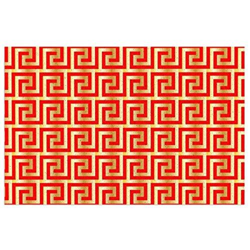 DLJIYZX Felpudo de PVC Patrón de meandro en Color Rojo y Dorado Patrón de Clave Griega Alfombra de Entrada Alfombra de Entrada Alfombra Antideslizante Alfombra 40X60CM