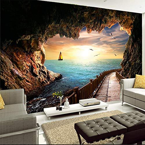 Papel tapiz fotográfico 3D Hermosa cueva de puesta de sol Paisaje costero Mural de pared Sala de estar Comedor Papeles de pared creativos modernos-300x210cm